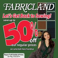 Fabricland - Let's Get Back To Sewing! Flyer