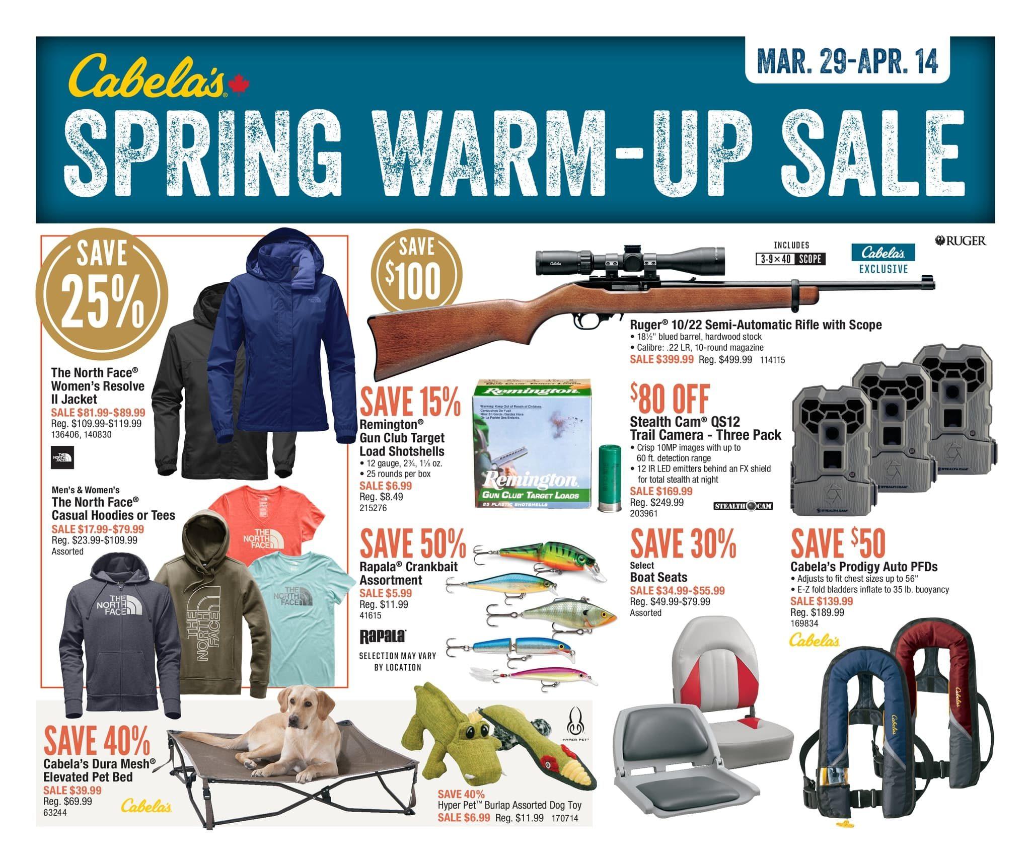 Cabelas Weekly Flyer - Spring Warm-Up Sale - Mar 29 – Apr 14