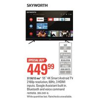 "Skyworth 55"" 4K Smart Android TV"