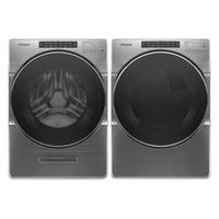 Whirlpool 5.2 Cu. Ft. I.E.C. Closet Depth Front Load Washer And 7.4 Cu. Ft. Electric Steam Dryer