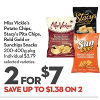 Miss Vickie's Potato Chips, Stacy's Pita Chips, Rold Gold Or Sunchips Snacks