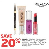 Revlon ColorStay Eye Cosmetics, PhotoReady Or Age Defying Face Cosmetics Or Ultra HD, Colorstay Or Kiss Lip Cosmetics