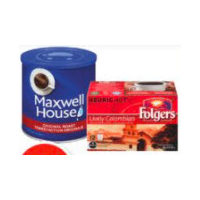 Maxwell House Ground Coffee or Folgers K-Cup Coffee Pods
