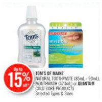 Tom's Of Maine Natural Toothpaste, Mouthwash Or Quantum Cold Sore Products