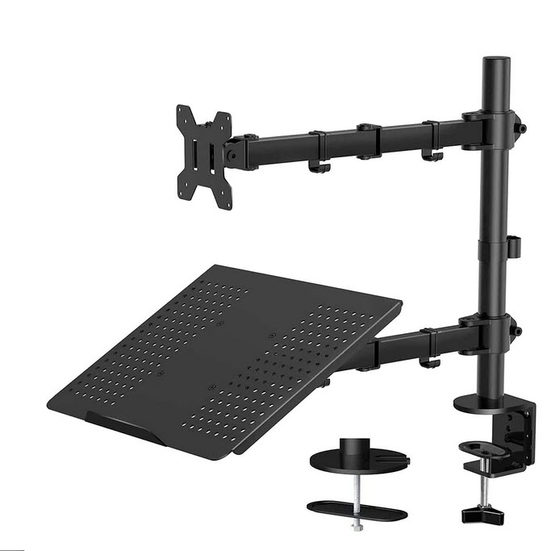 5. Best with a Laptop Mount: Huanuo Laptop Monitor Mount Stand with Keyboard Tray