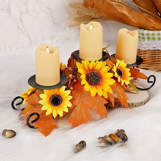 6. Best Table Centerpiece for Thanksgiving: MAGGIFT Thanksgiving Centerpiece with 3 Candle Holders