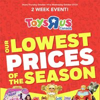 Toys R Us - 2 Week Event! - Our Lowest Prices of the Season Flyer