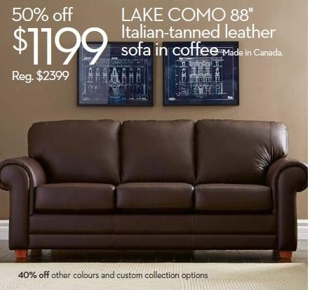 Astonishing The Bay Furniture Lake Como Leather Sofa With Rolled Arms Ncnpc Chair Design For Home Ncnpcorg