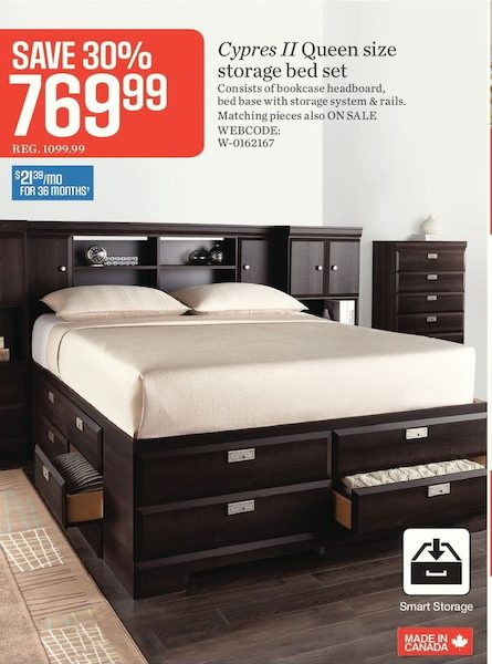 Sears: Cypress II Queen Size Storage Bed Set - RedFlagDeals.com