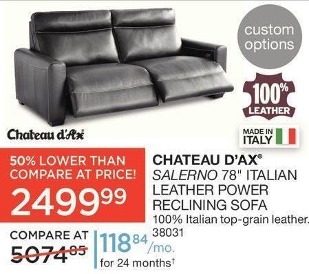 Sears Chateau D Ax Salerno 78 Italian Leather Power Reclining Sofa