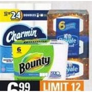 Charmin Bathroom Tissue, Bounty Paper Towels, Royale Facial Tissue - $6.99
