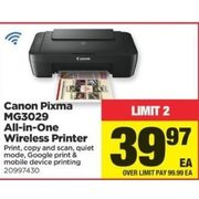 Canon Pixma MG3029 All-In-One Wireless Printer - $39.97