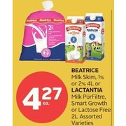Beatrice or Lactantia Milk Purfiltre, Smart Growth or Lactose Free  - $4.27