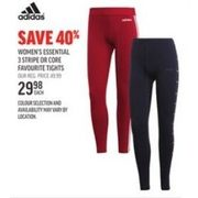 Adidas Women's Essential 3 Stripe Or Core Favourite Tights - $29.98 (40% off)