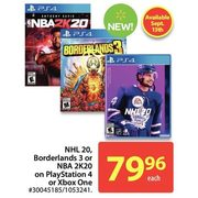 NHL 20, Bordelands 3 Or NBA 2K20 On Playstation 4 Or Xbox One - $79.96