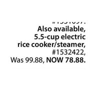 5.5-Cup Electric Rice Cooker/Steamer - $78.88