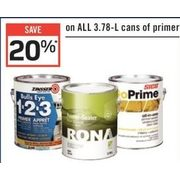 All 3.78-L Cans Of Primer - 20% off