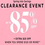 Le Chateau Spring Into Savings Clearance Event: Up to 85% off + EXTRA $25 on $125+ Purchase