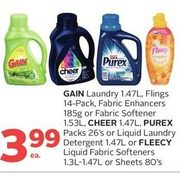 Gain Laundry, Flings, Fabric Enhancers Or Fabric Softener, Cheer, Purex Packs Or Liquid Laundry Detergent Or Fleecy Liquid Fabric