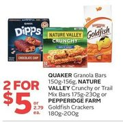 Quaker Granola Bars, Nature Valley Crunchy Or Trail Mix Bars Or Pepperidge Farm Goldfish Crackers  - 2/$5.00